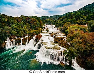 luftfoto, nationalpark, krka, wasserfälle, croatia.