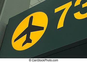 lufthavn, grønne, tegn
