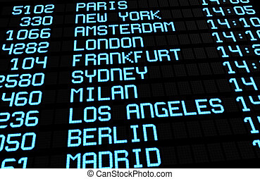 lufthavn, planke, internationale, rejse
