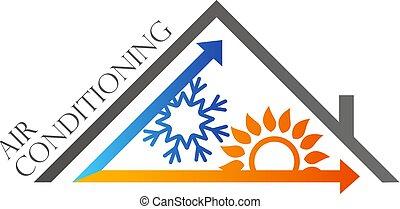luftkonditionering, hus, tak, symbol