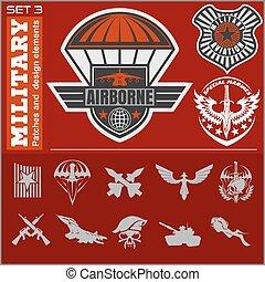 luftvåben, militær, emblem, sæt, vektor, konstruktion, skabelon