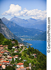 Lugano city with the view of lake Lugano