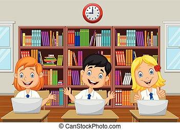 lugar crianças, classe estudo, computador, caricatura