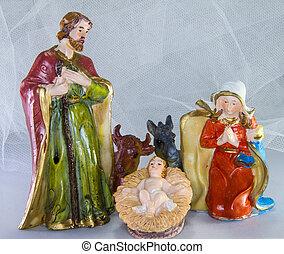 lugar de nacimiento, con, bebé jesús, en, el, pesebre, y, fondo blanco