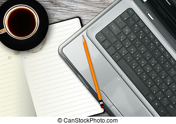 lugar de trabajo, con, computador portatil, cuaderno, y, taza para café