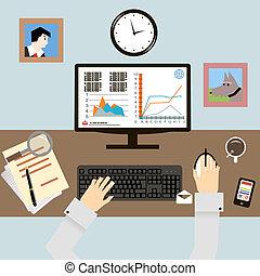 lugar de trabajo, con, manos, y, infographic, en, plano,...