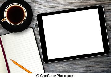 lugar de trabajo, con, tableta de digital, cuaderno, y, taza...