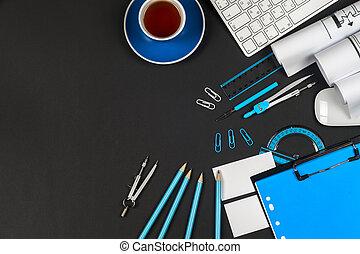 lugar de trabajo, de, arquitecto, -, rollos, y, plans.