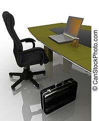 lugar de trabajo, en la mesa, para, negociaciones
