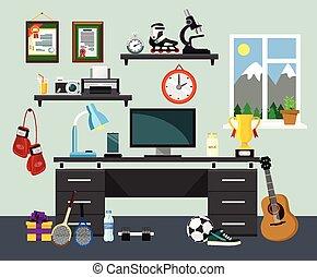 lugar de trabajo, ilustración, hogar, vector