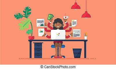 lugar de trabajo, multi, corporación mercantil de mujer, tasking, afro