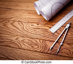 lugar de trabajo, -, técnico, project., ingeniería, herramientas, en, de madera, mesa.