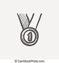 lugar, esboço, primeiro, medalha, ícone