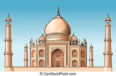 lugar famoso, -, asia, taj mahal, vector, ilustración