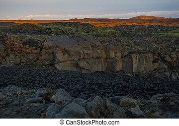 lugar famoso, entre, islandia, continentes