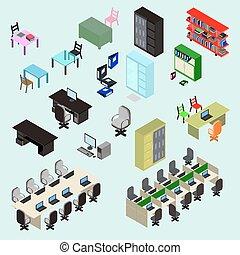 lugar, isometric, jogo, elementos, escritório