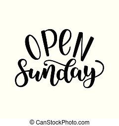 lugares, illustration., abertos, modernos, isolado, público, fundo, domingo, vetorial, escova, tinta, handlettering, lojas, caligrafia, lettering., branca, outros