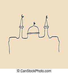 lugares, mano, islámico, diseño, imágenes, dibujado, feriado...