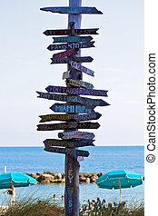 lugares, señalar, poste indicador, adapte al oeste, mundo, ...