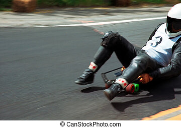 Luge 1 - racing downhill with speed skateboard or toboggan