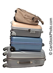 Luggage and traveling bags isolated on white background