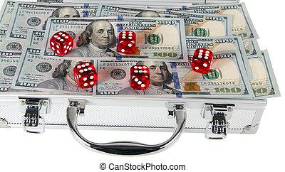 luggage, bag money american hundred dollar bills