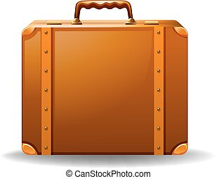 Brown leather luggage in vintage design