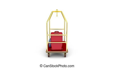 Luggage cart full with suitcases and bags