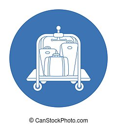Luggage cart icon in black style isolated on white background. Hotel symbol stock vector illustration.