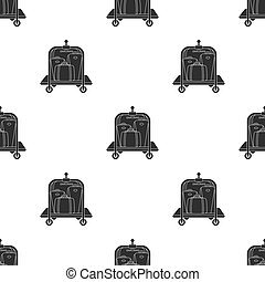 Luggage cart icon in black style isolated on white background. Hotel pattern stock vector illustration.