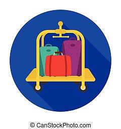 Luggage cart icon in flat style isolated on white background. Hotel symbol stock vector illustration.
