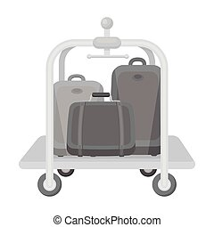 Luggage cart icon in monochrome style isolated on white background. Hotel symbol stock vector illustration.