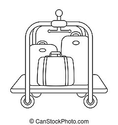 Luggage cart icon in outline style isolated on white background. Hotel symbol stock vector illustration.