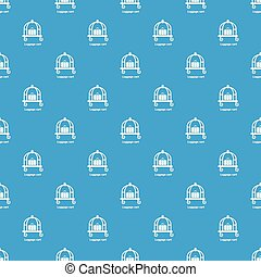 Luggage cart pattern vector seamless blue