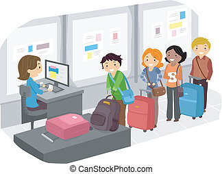 Luggage Check In at Airport 2 - Illustration of People...