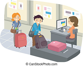 Luggage Check-In at Airport - Illustration of Stickman...