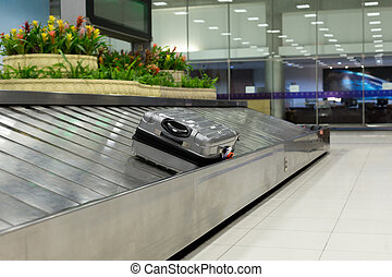 Luggage claim on conveyor belt