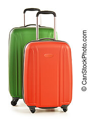 Luggage consisting of large polycarbonate suitcases isolated on white