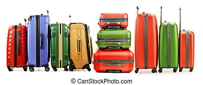 Luggage consisting of large suitcases isolated on white...