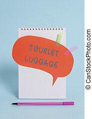 luggage., foto, uno, viajar, pastel, necesidades, fondo., ...