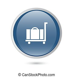 luggage icon. blue glossy web icon