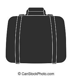 Luggage icon in black style isolated on white background. Hotel symbol stock vector illustration.
