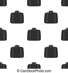 Luggage icon in black style isolated on white background. Hotel pattern stock vector illustration.