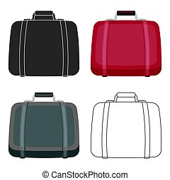 Luggage icon in cartoon style isolated on white background. Hotel symbol stock vector illustration.
