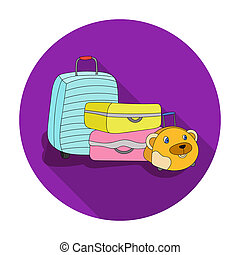 Luggage icon in flat style isolated on white background. Family holiday symbol stock bitmap, rastr illustration.