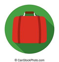 Luggage icon in flat style isolated on white background. Hotel symbol stock vector illustration.