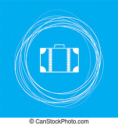 luggage icon on a blue background with abstract circles around and place for your text.