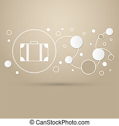 luggage icon on a brown background with elegant style and modern design infographic.
