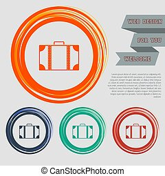 luggage icon on the red, blue, green, orange buttons for your website and design with space text. Vector