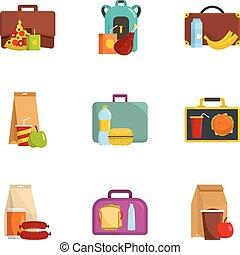 Luggage icons set, cartoon style